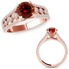 1 Ct Red Diamond Beautiful Solitaire Halo Engagement Ring Band 14K Rose Gold