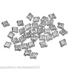 Wholesale Lots Silver Tone Rhombus Spacer Beads 8x10mm
