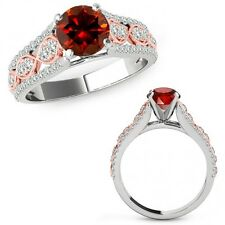 1 Ct Red Diamond Lovely Solitaire Halo Anniversary Ring Band 14K Rose Two Gold