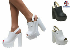 WOMENS LADIES CLEATED CHUNKY SOLE BUCKLE SLINGBACK PEEPTOE SANDALS SHOES SIZE