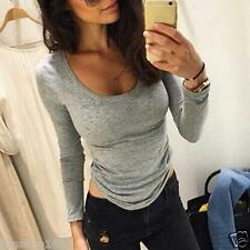 Womens Ladies Slim Bodycon Tops Long Sleeve Shirt Casual Blouse Pullover Cotton