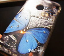 Fitted Stylish Blue Butterfly Elegant Strass Bling Gem Hard Back Case Cover au**