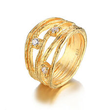 JewelryPalace Ladies Wedding Band Ring CZ 925 Sterling Silver 18k Gold Plated