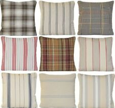 Checks Cushion Cover Striped Pillow Case Ian Mankin Organic Cotton Fabric Woven