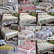 3 Pce Floral Cottage 100% COTTON Quilted Coverlet Bedspread + 2 Std pillowcases