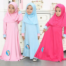 Muslim Kids Girls Anna Elsa Abaya Islamic Maxi Long Dress + Hijab Clothing Set