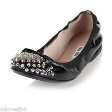 Miu Miu Black Patent Leather Studded Toe Cap Ballet Flats Shoes BNIB 4 5 37 38