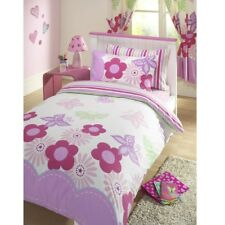 LUXURY GIRLS REVERSIBLE DUVET QUILT COVER BEDDING BED SET PINK LILAC SUNNY DAYS