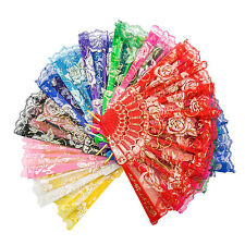 Spanish Chinese Style Folding Hand Dancing Fabric Flower Lace Fan Party Fan LOT