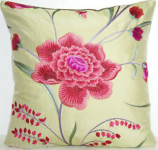 Embroidered Cushion Cover Pink Flowers Green Silk Fabric Lorca Garden of Eden
