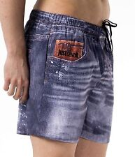 Boxer Mare Roberto Cavalli Costume Pantaloncino Uomo Trunk Men Swim Beach Denim
