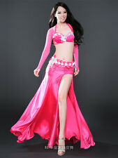 5pics belly dance costume outfits bra&belt&skirt&armbands 34B 36B 38B 2colors