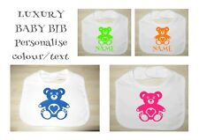 Personalised Vinyl Toddler Bib, Funny Bibs, TEDDY BEAR Bib, Any Colour & Name