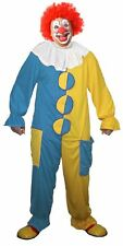 The Dragons Den Funny Sky Blue & Yellow Clown Fancy Dress Costume