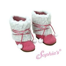 SUEDE BOOTS SHOES SHERPA fit American Girl Dolls FUCHSIA EWE NEW HOT PINK