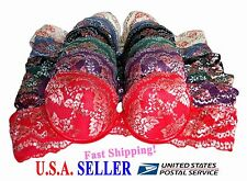 Lot of 6 Bras NWT Demi Cup Underwire Floral Laced Lightly Padded 34 36 38 40 C