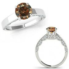 1.25 Ct Champagne Color Diamond Vintage Beautiful Solitaire Ring 14K White Gold