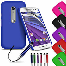 Hard Back Skin Case Cover, LCD Film & Stylus Pen For Motorola Moto G 3rd Gen