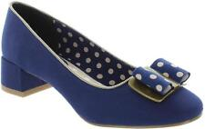 Ruby Shoo June Women's Navy Round Toe Low Heel Slip On Court Shoes With Bow New