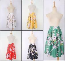 Hot sell Vintage Hepburn Floral Print Pleated Midi Skirt Ball Gown Swing Skirt