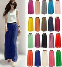 New Women Double Layer Chiffon Pleated Retro Elastic Waist Long Skirt Maxi Dress