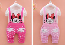 Toddler Girls Baby Minnie Mouse T-shirt+Bib Pants Tracksuit Outfits Set Clothes