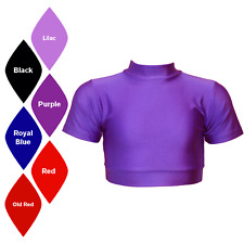 SALE! NEW SHORT SLEEVE POLO NECK DANCE/DISCO CROP TOP - ASSORTED SIZES + COLOURS