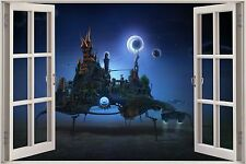 Huge 3D Window Fantasy Space Station View Wall Sticker Decal Wallpaper Mural 858