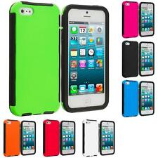 For Apple iPhone 5S 5 Hybrid Shockproof Case Cover w/ Built In Screen Protector