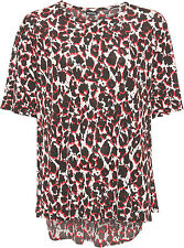 Womens Plus Black Red Print Swing Top Baggy Loose Flared Short Sleeve Ladies