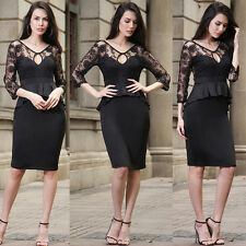 Womens Ladies Sexy Floral Lace Hollow Out Bodycon Midi Peplum Dress Plus Size