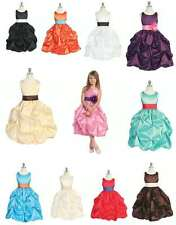 NEW CC D-599 Flower Girl Dress 15 Colors Champagne, Chocolate, Plum, Silver 2-12