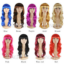 WOMEN'S SEXY LONG CURLY FANCY DRESS WIGS COSPLAY COSTUME LADIES FULL WIG PARTY c