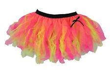 Ladies Cerise Pink & Neon Yellow Cyber Tutu Skirt Rave Fancy Dress