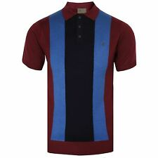 GABICCI VINTAGE KNITTED POLO SHIRT MENS PORT RETRO MOD TOP NAVY BLUE STRIPES