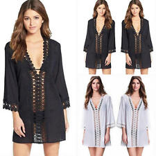 Sexy Women Lace V Neck Loose Swimwear Beachwear Bikini Beach Wear Cover Up Shirt