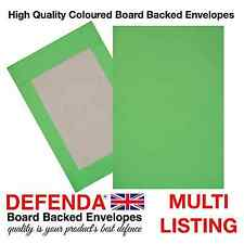 C4-A4 C5-A5 GREEN Coloured BOARD BACKED ENVELOPES Strong Hard Card Back Mailers