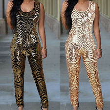 Sexy Womens Champagne Gold Geometric Sequins Club Party Bodycon Long Jumpsuit
