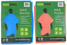 HOODED Adult Poncho Raincoat for Camping Hiking Theme Parks Rain Proof RED BLUE