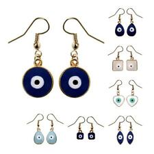 EVIL EYE EARRINGS Good Luck Protection Hypoallergenic Wires Drop NEW Blue White
