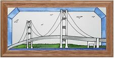 "Silver Creek Mackinac Bridge, Michigan ~ 11.5"" x 22.5"" Art Glass Suncatcher"