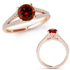 1 Carat Red Color Diamond Fancy Solitaire Engagement Wedding Ring 14K Rose Gold