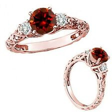1 Carat Red Color Diamond Fancy Solitaire Promise Wedding Ring 14K Rose Gold