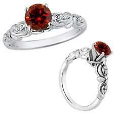1 Carat Red Color Diamond Fancy Solitaire Engagement Bridal Ring 14K White Gold
