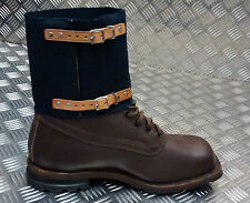 Genuine WWII Pattern Swedish Navy Gaiters / Anklets Canvas / Leather 1942