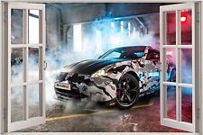 Huge 3D Window Nissan 370Z Nismo Gumball View Wall Sticker Wallpaper Mural 828