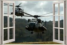 Huge 3D Window Sea Stallion Helicopters View Wall Sticker Wallpaper Mural 877