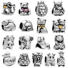 925 Sterling Silver Lovely Cartoon Animal Fit European Bead Charm Bracelet U5V6