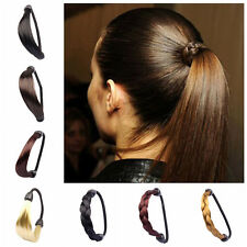 Womens Braid Straight Wig Elastic Hair Band Rope Scrunchie Ponytail Holder 4WR