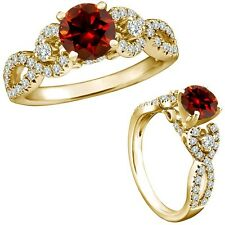 1 Carat Red Color Diamond Fancy Infinity Engagement Wedding Ring 14K Yellow Gold